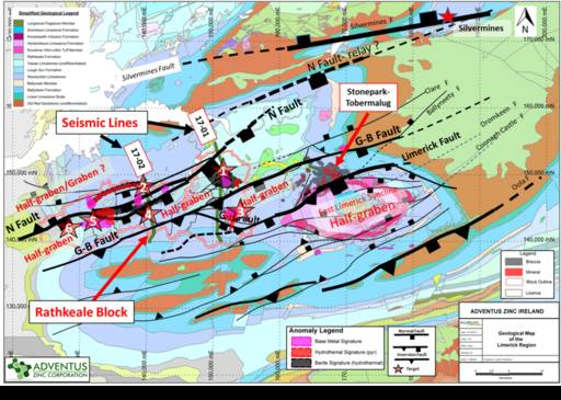 Figure 2 (Press Release May 17, 2018) - Geologic Map of Limerick Region with Anomalies